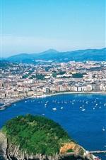 Preview iPhone wallpaper San Sebastian, city, island, sea, Spain