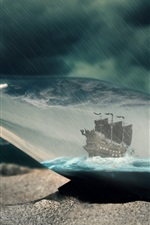Preview iPhone wallpaper Sands, bottle, ships, rain, paper, message, storm, creative picture