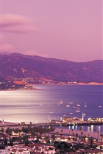 Preview iPhone wallpaper Santa Barbara, California, USA, city night, sea, coast, lights