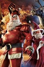 iPhone обои Санта-Клаус, олень, луна, ночь, художественная фотография