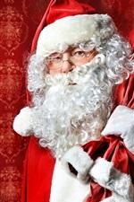 Preview iPhone wallpaper Santa Claus, glasses, gift bag, Christmas