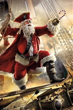 Preview iPhone wallpaper Santa Claus, pirate, ship, gifts, sea, art picture