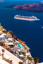 Preview iPhone wallpaper Santorini, Greece, houses, sea, ship, sunshine