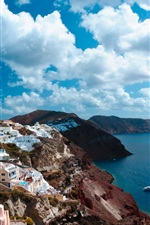 Preview iPhone wallpaper Santorini, Greece, island, sea, city, houses