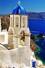 Preview iPhone wallpaper Santorini, Greece, sea, buildings