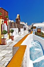 Preview iPhone wallpaper Santorini, Greece, street, houses, white style