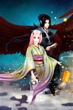 Preview iPhone wallpaper Sasuke Uchiha, Sakura Haruno, Japanese anime