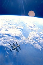 Preview iPhone wallpaper Satellite, blue earth, space, clouds