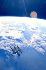 Satélite, terra azul, espaço, nuvens