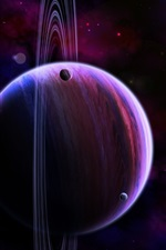Preview iPhone wallpaper Saturn, planets, darkness, spots, universe