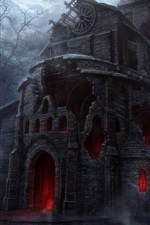 Preview iPhone wallpaper Scary castle at night, trees, art picture