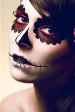 Preview iPhone wallpaper Scary makeup girl, rose flower