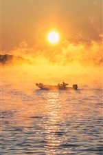 Preview iPhone wallpaper Sea, boat, fog, morning, sunrise