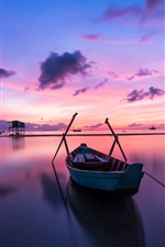 Preview iPhone wallpaper Sea, boats, sunset, clouds, dusk