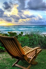 Preview iPhone wallpaper Sea, clouds, sunrise, grass, chairs