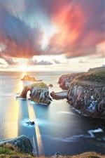 Sea, clouds, sunset, rocks, dusk