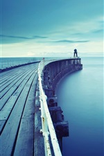 Preview iPhone wallpaper Sea, pier, blue