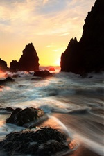 Preview iPhone wallpaper Sea, rocks, stream, sunset