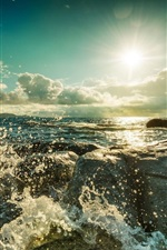 Preview iPhone wallpaper Sea, waves, clouds, sunset, water, splash
