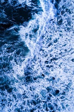 Preview iPhone wallpaper Sea, waves, foam, dusk, top view