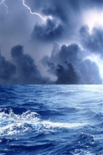 Preview iPhone wallpaper Sea, waves, storm, clouds, lightning