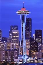 iPhone fondos de pantalla Seattle, noche de la ciudad, torre, rascacielos, Estados Unidos