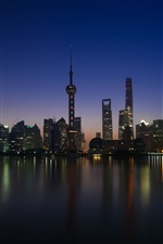 Preview iPhone wallpaper Shanghai, Huangpu, skyscrapers, river, night, lights, China