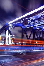 iPhone fondos de pantalla Shanghai, puente, noche, luces, ciudad china