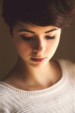 Preview iPhone wallpaper Short hair girl in room