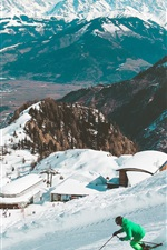Ski, snowy, mountains, winter