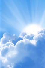 Preview iPhone wallpaper Sky, white clouds, sunshine