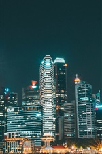 iPhone壁紙のプレビュー 超高層ビル、建物、照明、夜間、都市、川