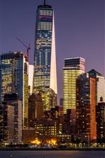 Skyscrapers, dusk, Manhattan, New York, USA