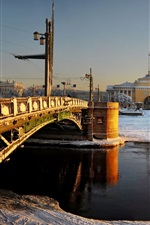 Preview iPhone wallpaper St. Petersburg, bridge, snow, river, city, Russia