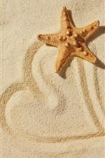 Starfish, beach, love heart