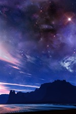 Preview iPhone wallpaper Starry, sea, mountains, clouds, dusk, beautiful landscape
