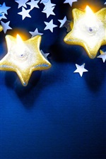 Preview iPhone wallpaper Stars, candles, flame, Christmas theme