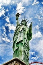 Preview iPhone wallpaper Statue of Liberty, blue sky, clouds, city, USA