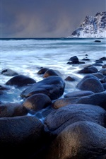 Preview iPhone wallpaper Stones, sea, mountain, dusk