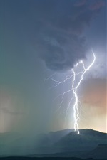 Preview iPhone wallpaper Storm, clouds, lightning, mountains