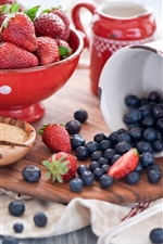 Preview iPhone wallpaper Strawberries, blueberries, cup, bowl