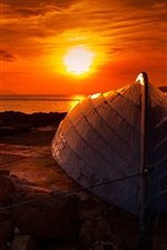 Sunset, boat, sea, coast