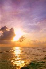Pôr do sol, mar, nuvens, superfície da água