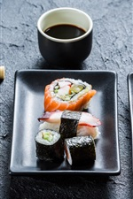 Preview iPhone wallpaper Sushi, chopsticks, Japanese cuisine