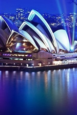 Preview iPhone wallpaper Sydney, Opera House, night, lights, sea