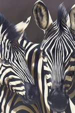 Preview iPhone wallpaper Three zebras, black background