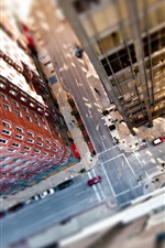 Preview iPhone wallpaper Tilt shift photography, city, top view, street, cars, skyscrapers