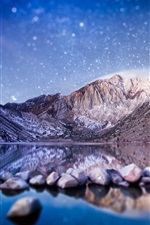 Preview iPhone wallpaper Tilt-shift photography, mountains, lake, stones, starry, blurry