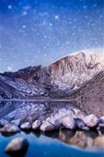 Фотография с наклоном-сдвигом, горы, озеро, камни, звездные, размытые