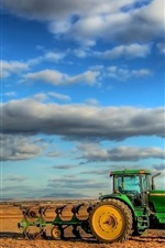 Tractor, plowing, farm, sky, clouds